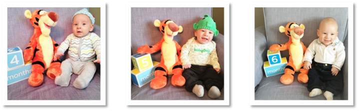 Monthly milestone photos and DIY babykeepsakes